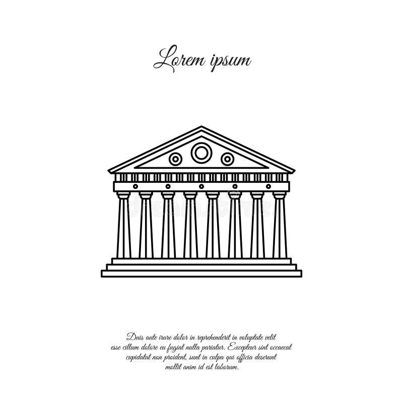 Parthenon dans la ligne icône, signe de vecteur d'Athènes illustration de vecteur