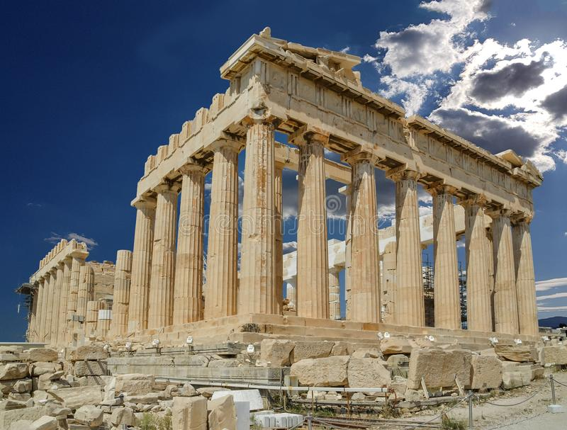 Parthenon dichte omhooggaande akropolis van Athene Griekenland stock foto's
