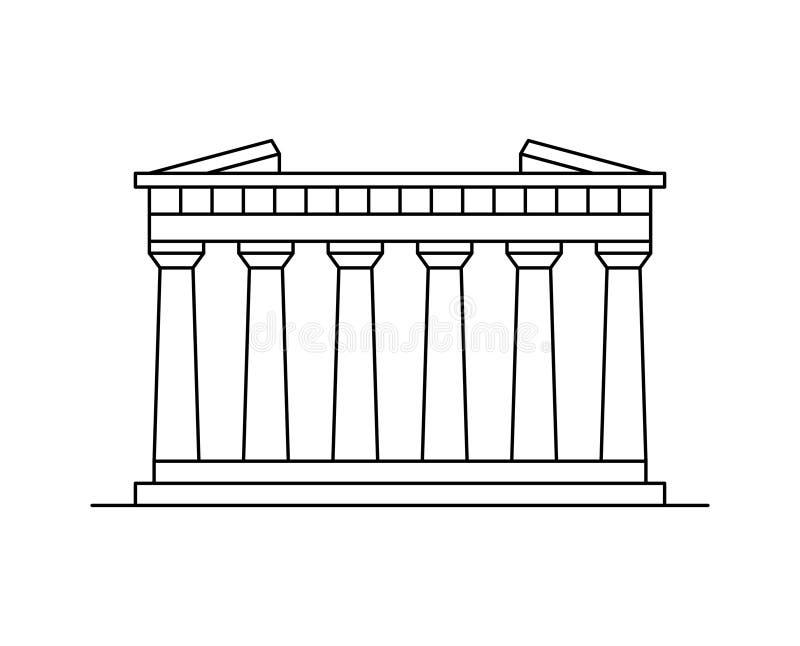 Parthenon in het pictogram van Athene royalty-vrije illustratie