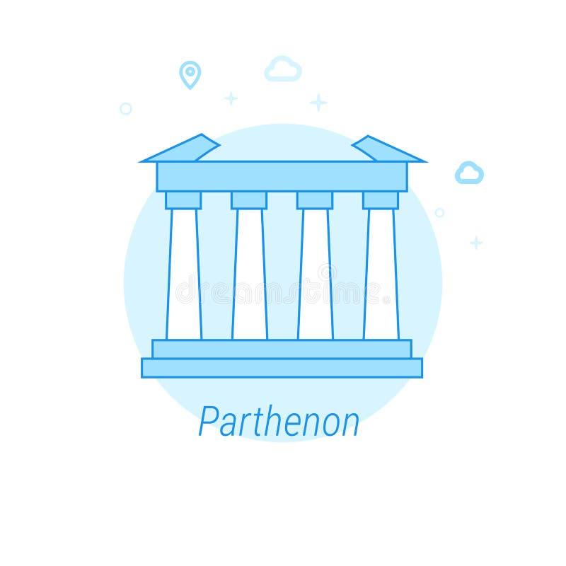 Parthenon, illustration plate de vecteur d'Athènes, Grèce, icône Conception monochrome bleu-clair Course Editable illustration libre de droits