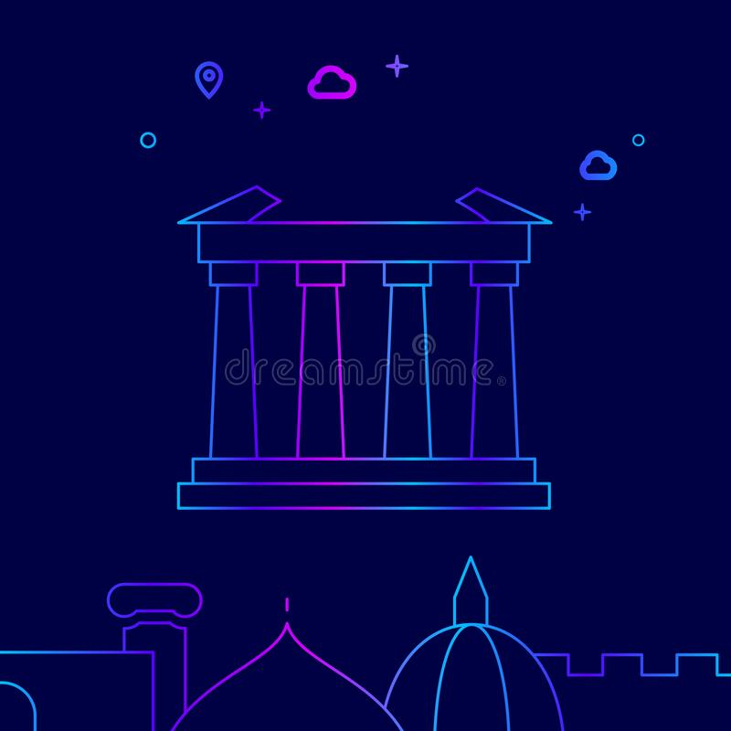 Parthenon, ligne icône, illustration de vecteur d'Athènes, Grèce sur un fond bleu-foncé Frontière inférieure relative illustration de vecteur