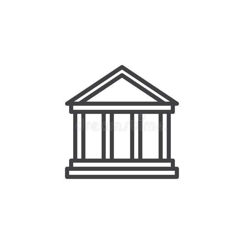 Parthenon modela konturu ikona ilustracja wektor