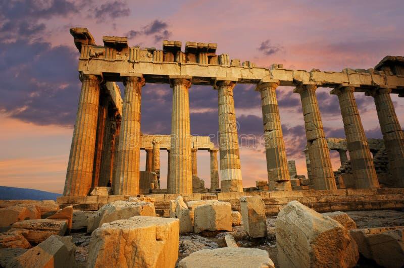 Parthenon no por do sol foto de stock