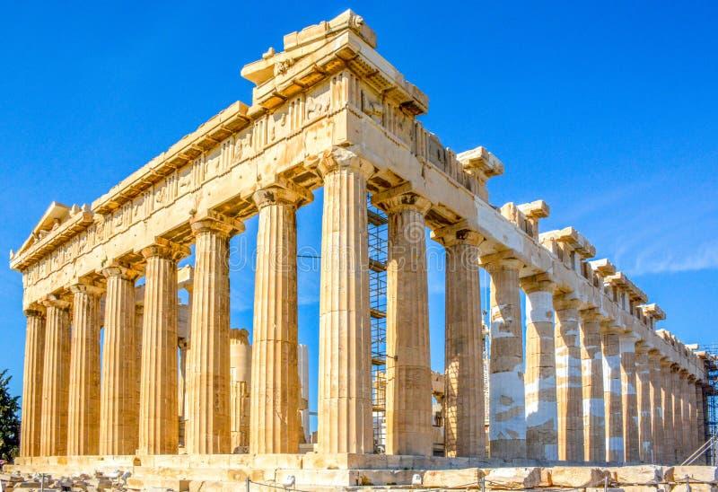 Parthenon på akropolen i Aten, Grekland arkivfoto
