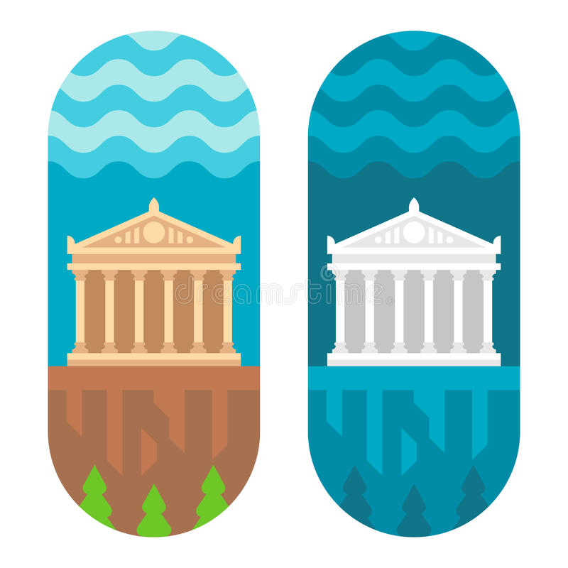 Parthenon plano del diseño ilustración del vector