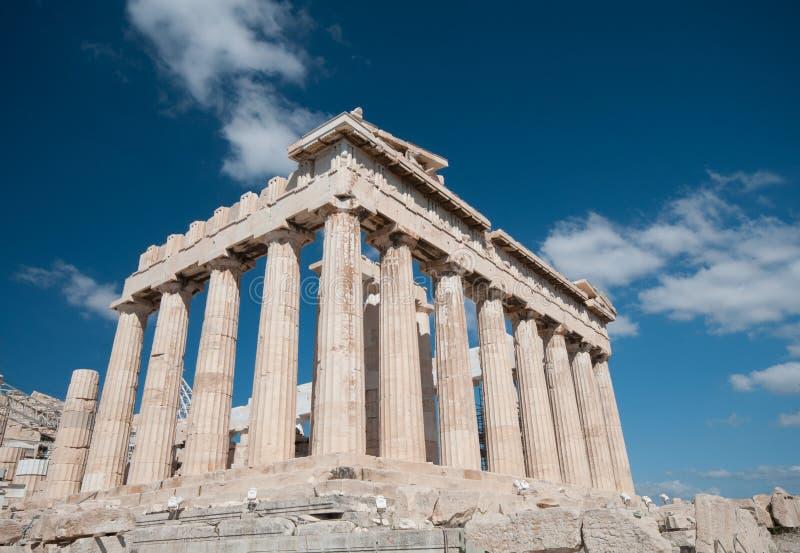 Parthenon przy akropolu wzgórzem, Ateny zdjęcia stock
