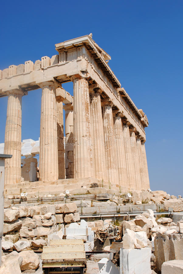 Parthenon-Seitenansicht stockfoto