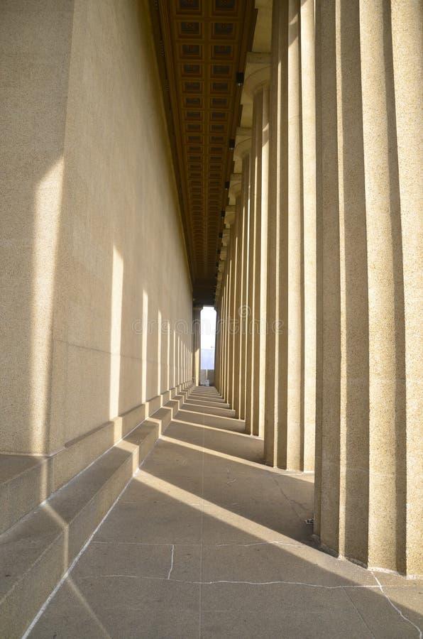 Parthenon. Sunset light through columns at the Parthenon in Nashville, TN stock image