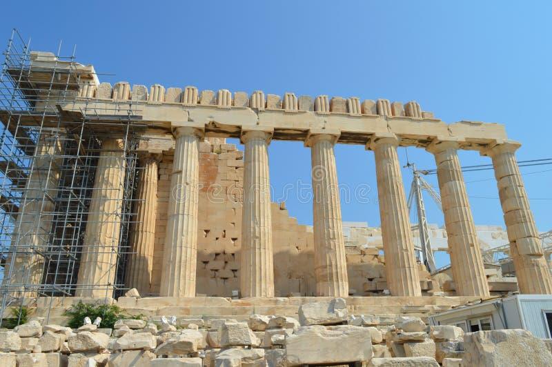 Parthenon temple in Acropolis in Athens, Greece on June 16, 2017. ATHENS, GREECE - JUNE 16: Parthenon temple in Acropolis in Athens, Greece on June 16, 2017 royalty free stock photos