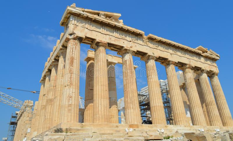 Parthenon temple in Acropolis in Athens, Greece on June 16, 2017. royalty free stock photography