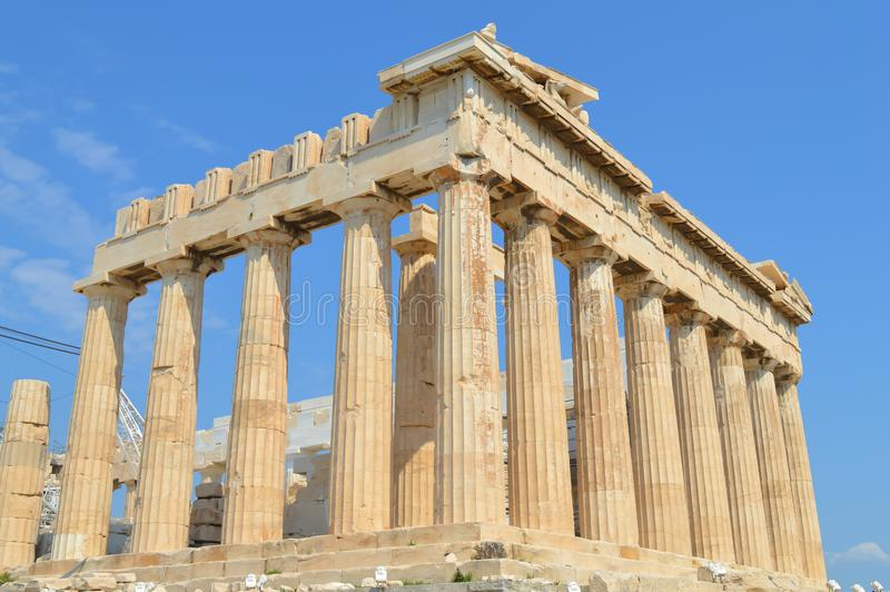 Parthenon temple in Acropolis in Athens, Greece on June 16, 2017. royalty free stock image