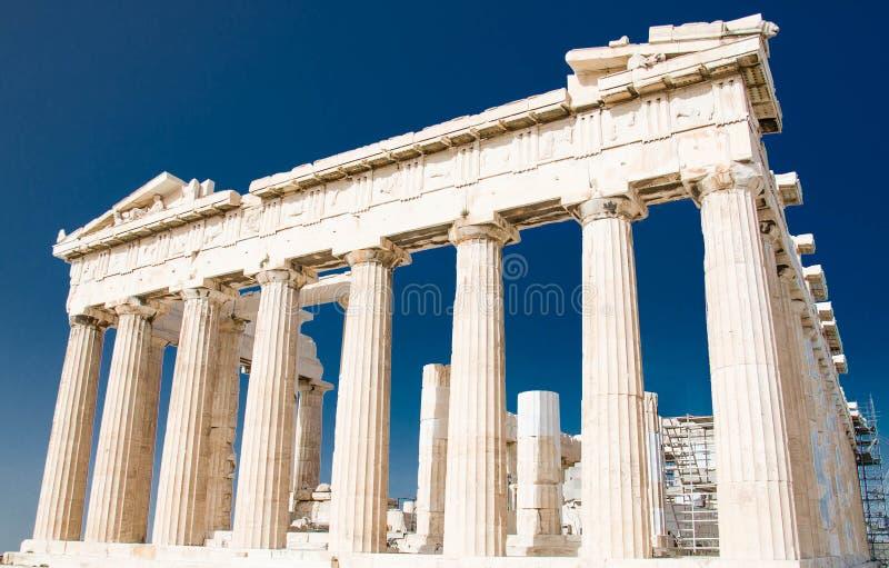 Parthenon temple on Acropolis hill in Athens, Greece royalty free stock photo