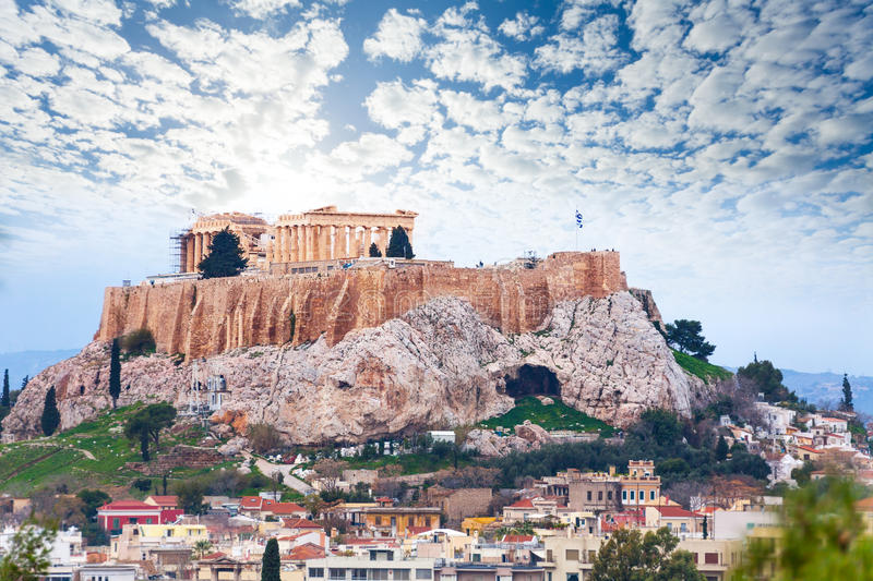 Parthenon temple and Acropolis view from downtown stock images