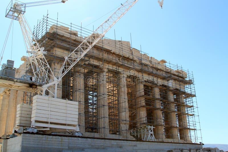 Parthenon under restoration stock photos