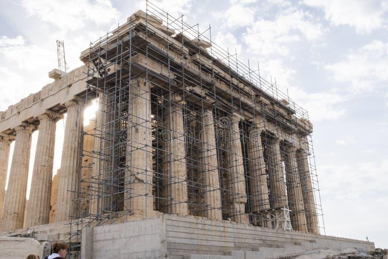 The Parthenon undergoing restoration at the Acropolis, Athens royalty free stock photo
