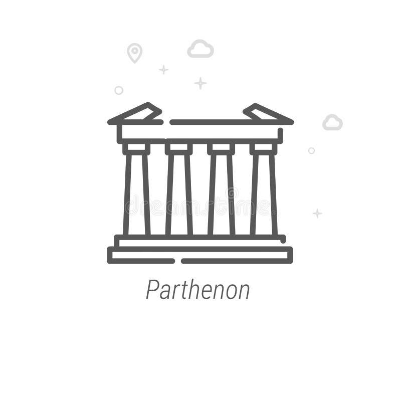 Parthenon, Vector de Lijnpictogram van Athene, Griekenland, Symbool, Pictogram, Teken Abstracte geometrisch Editableslag vector illustratie