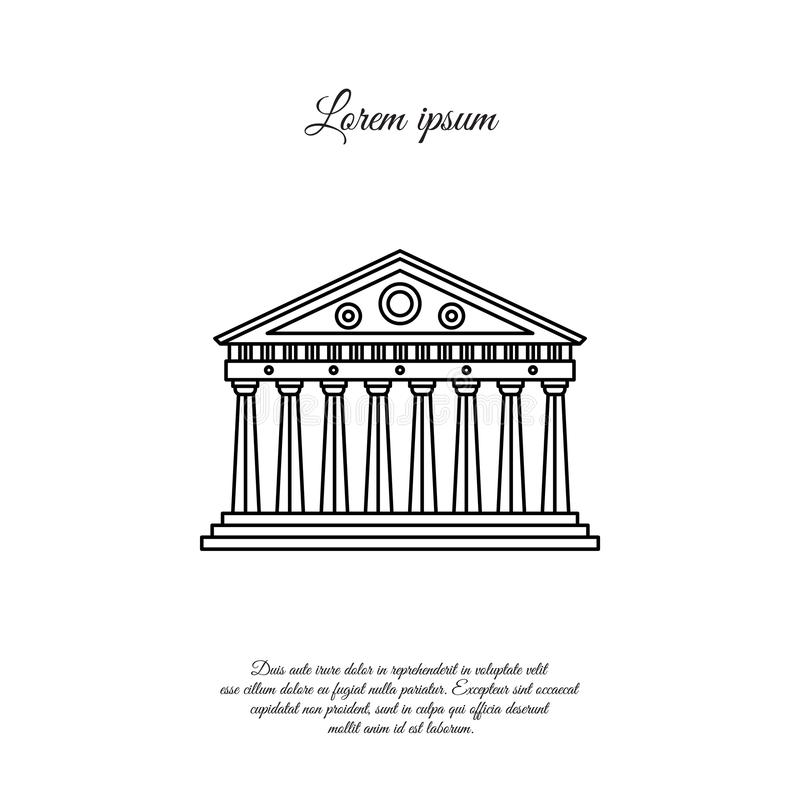 Parthenon in vector de lijnpictogram van Athene, teken vector illustratie