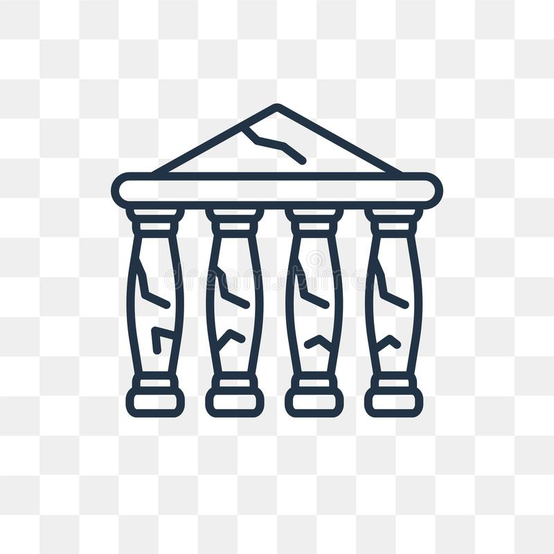 Parthenon vector icon isolated on transparent background, linear royalty free illustration