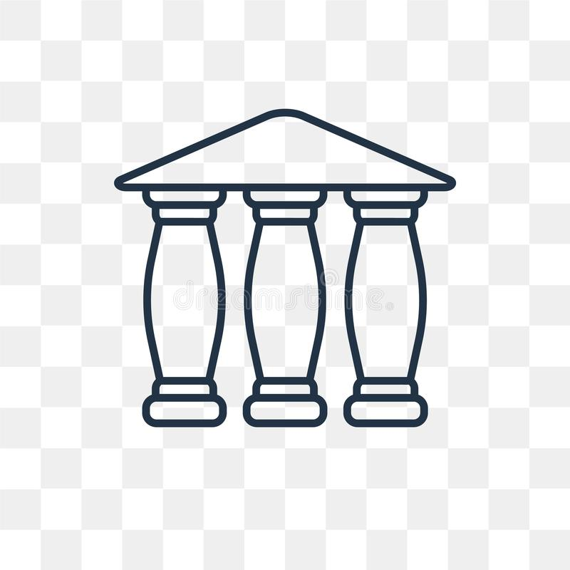 Parthenon vector icon isolated on transparent background, linear vector illustration