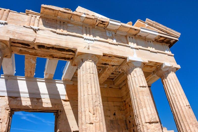 Parthenonruïnes in Athene stock afbeelding