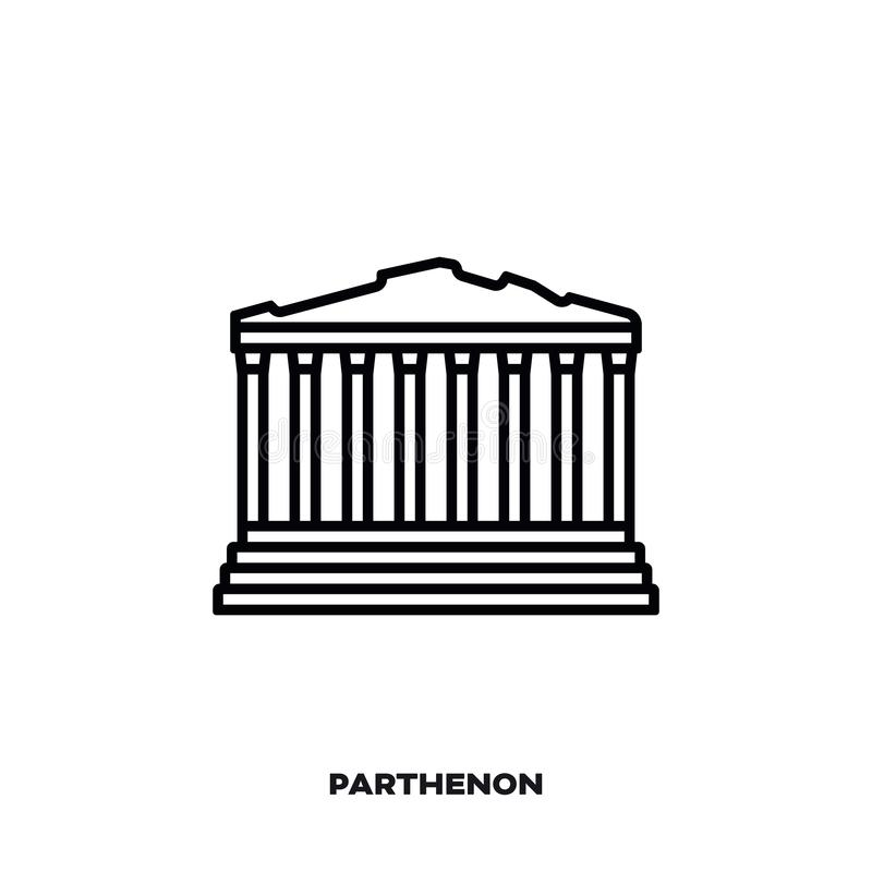 Parthenontempel in Athene, Griekenland, vectorlijnpictogram stock illustratie