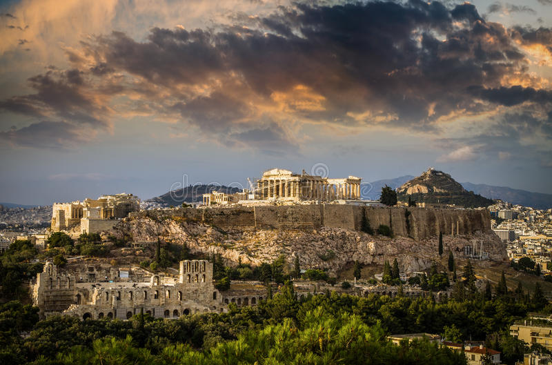 Parthenontempel auf Akropolise von Athen, Athen, Griechenland lizenzfreies stockbild