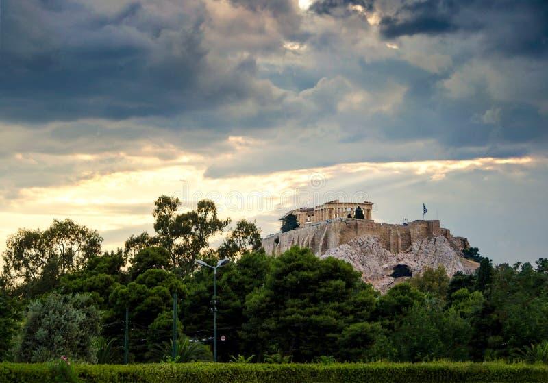Parthenontempel op Akropolisheuvel in Athene, Griekenland stock afbeelding
