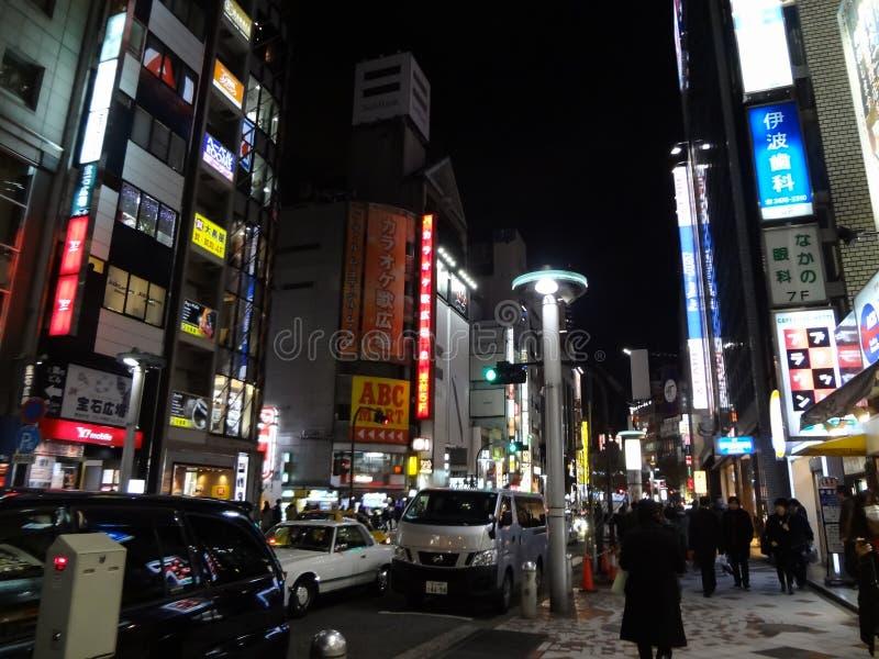 Parti anteriori del deposito di Shibuya alla notte fotografia stock libera da diritti