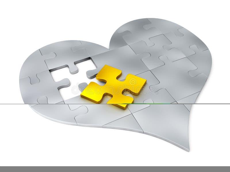Parti d'acciaio di puzzle sotto forma di cuore royalty illustrazione gratis