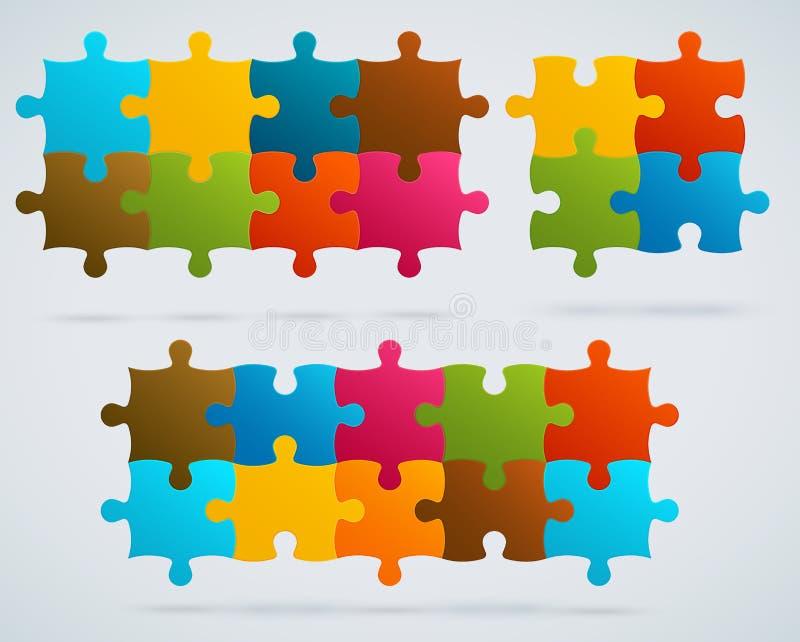 Parti dei puzzle variopinti. Un insieme di 8, 4, vettore 10  illustrazione vettoriale