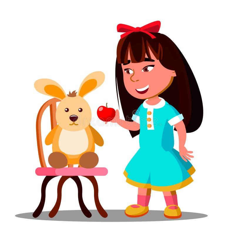 Parti della bambina un Apple con il suo Toy Hare Vector molle Illustrazione isolata illustrazione vettoriale