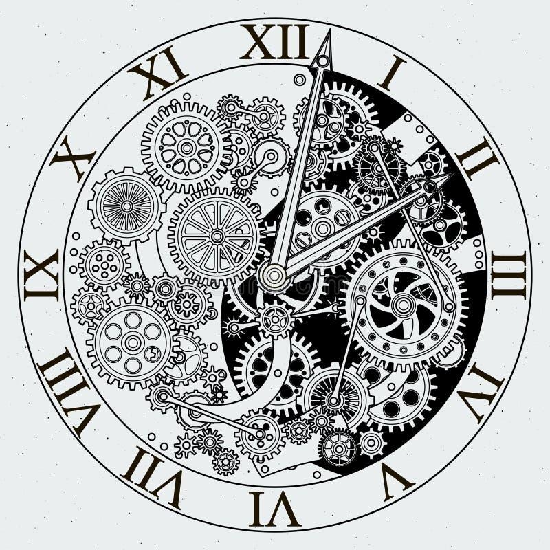 Parti della vigilanza Meccanismo dell'orologio con le ruote dentate Illustrazioni di vettore royalty illustrazione gratis