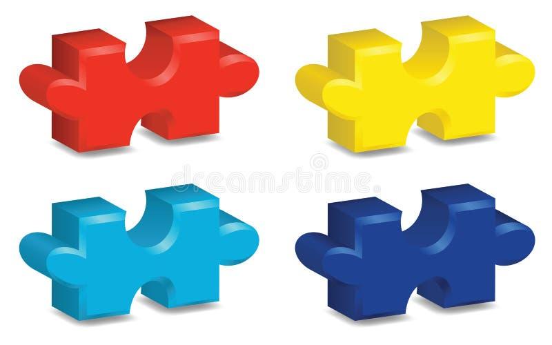 parti di puzzle 3D illustrazione vettoriale