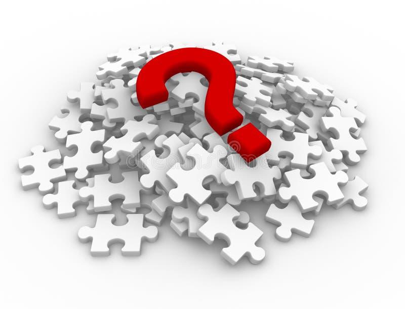 Parti di puzzle e punto interrogativo illustrazione di stock