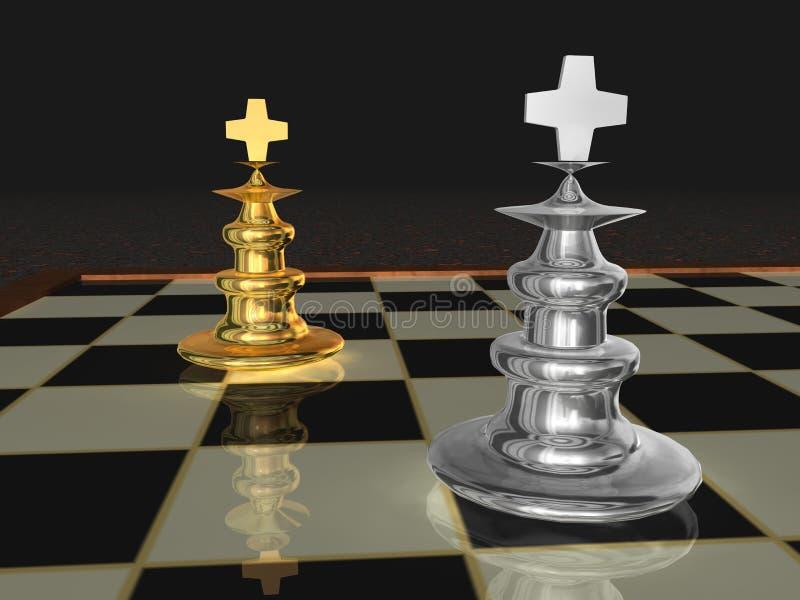Parti di scacchi metalliche fotografia stock