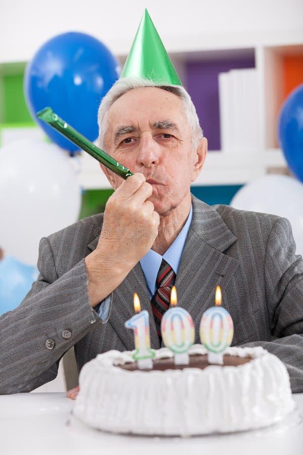 Parti för den 100. födelsedagen royaltyfria bilder