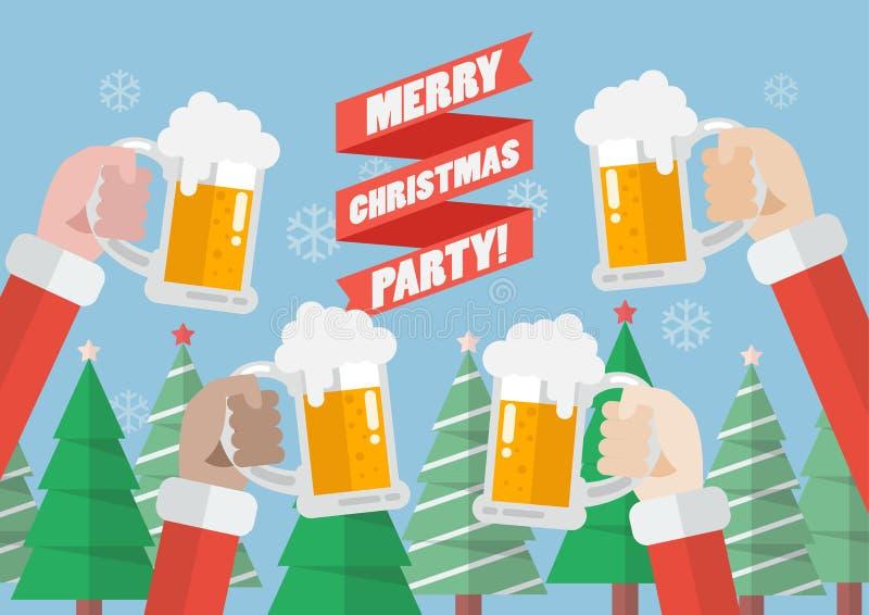 Parti för glad jul royaltyfri illustrationer