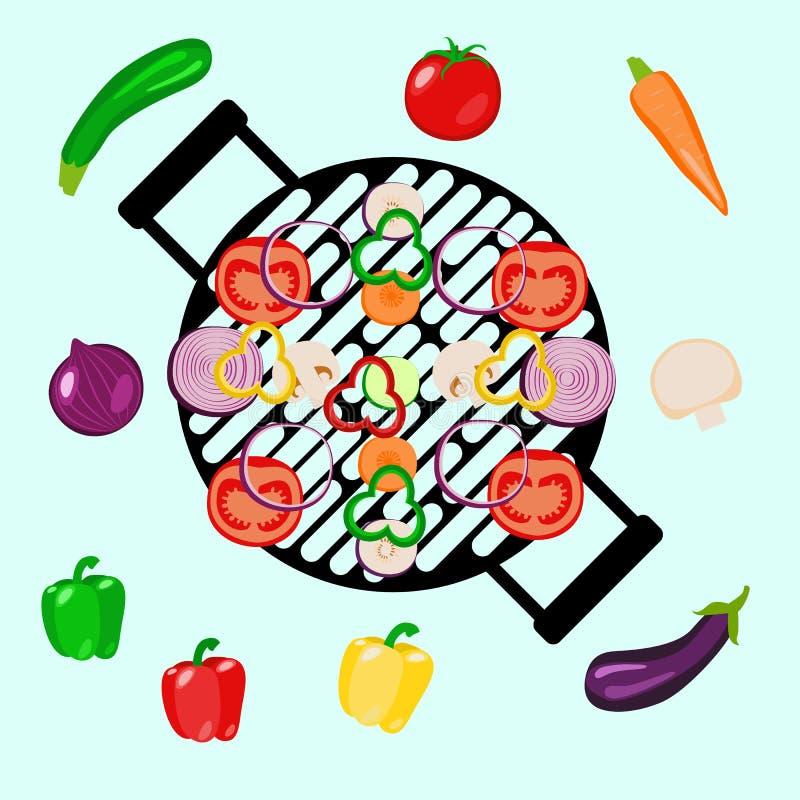 Parti för grönsaksommarpicknick som är utomhus- med gallret Isolerat på blåa objekt royaltyfri illustrationer