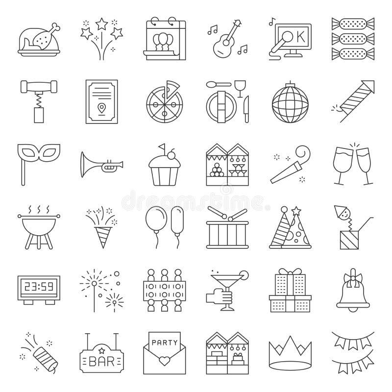 Parti för jul för nytt år för beröm och att underhålla händelsesymbolen su royaltyfri illustrationer