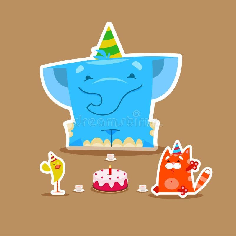 Parti för lycklig födelsedag med små gulliga djur elefant, katt och royaltyfri illustrationer