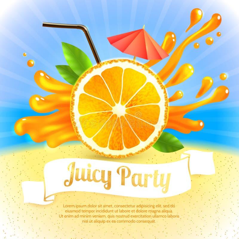 Parti för orange fruktsaft stock illustrationer