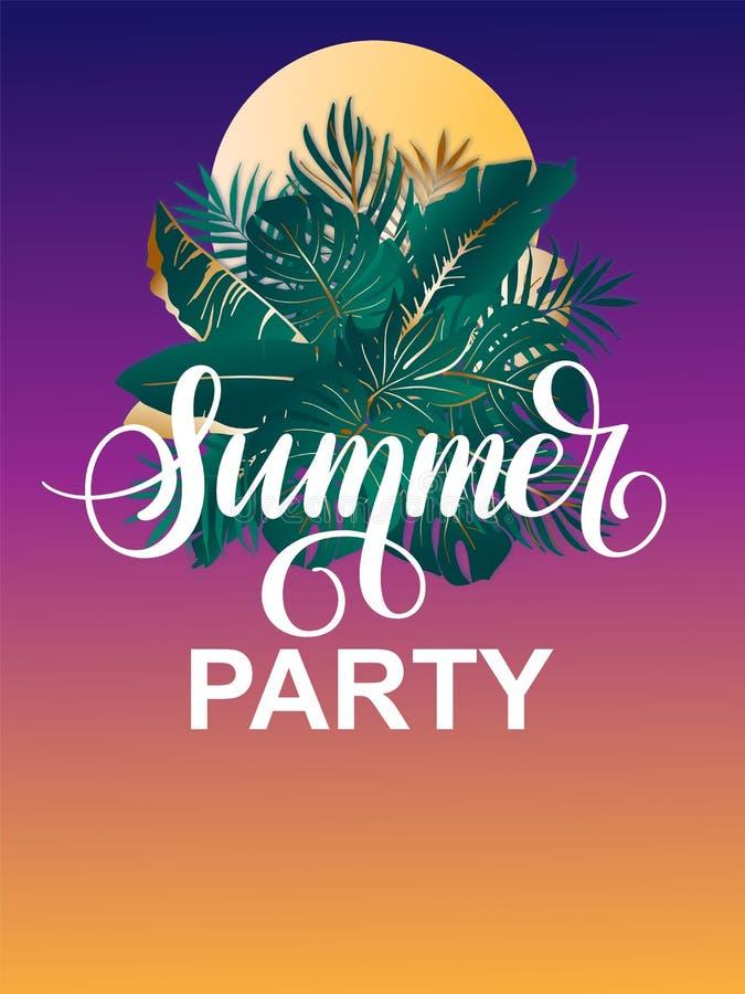 Parti för vektoraffischsommar med kopieringsutrymme för din text Annonsering av den vertikala mallen med solen och den tropiska royaltyfri illustrationer