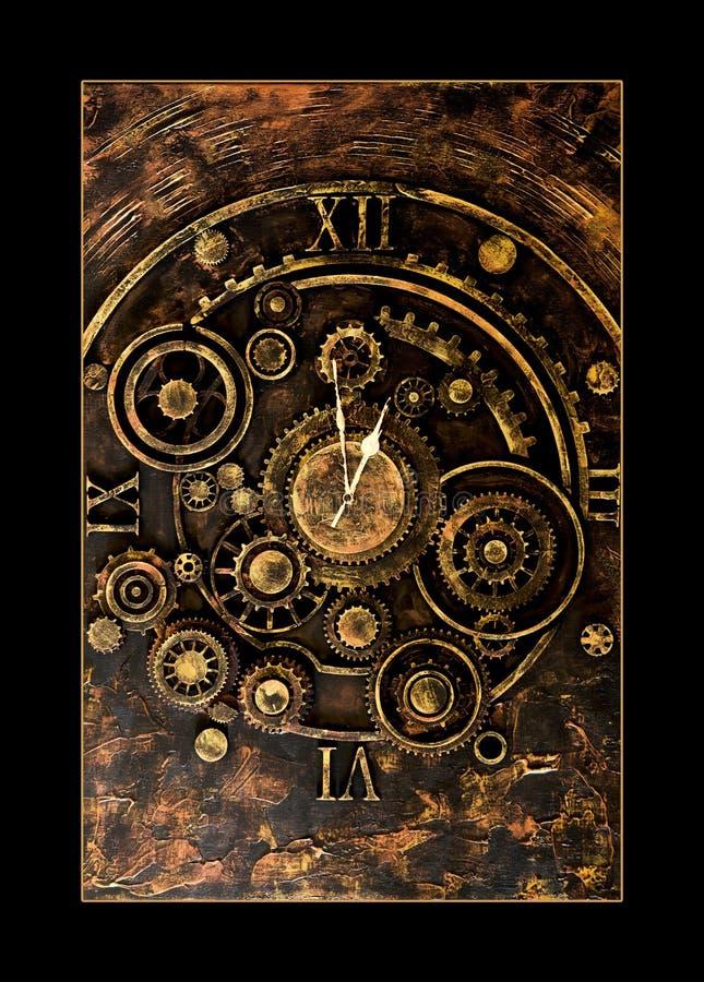 Parti meccaniche d'annata dell'orologio su fondo d'annata fotografie stock libere da diritti
