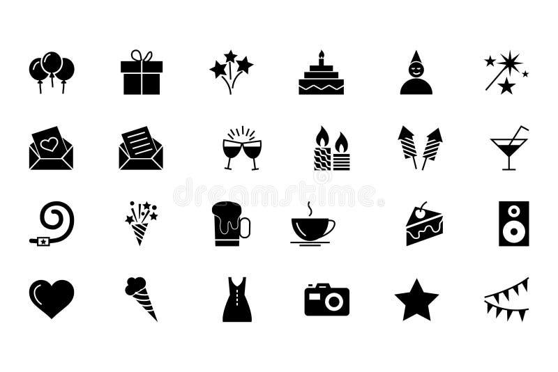 Parti- och berömvektorsymboler 1 royaltyfri illustrationer