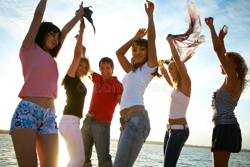 Parti på stranden royaltyfria foton