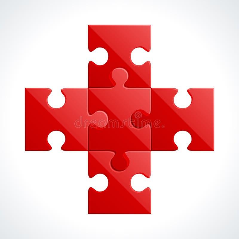 Parti rosse di puzzle illustrazione di stock