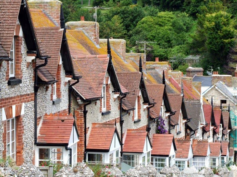 Parti superiori del tetto del cottage del terrazzo immagine stock