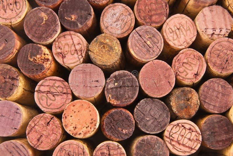 Parti superiori differenti del sughero del vino fotografie stock libere da diritti