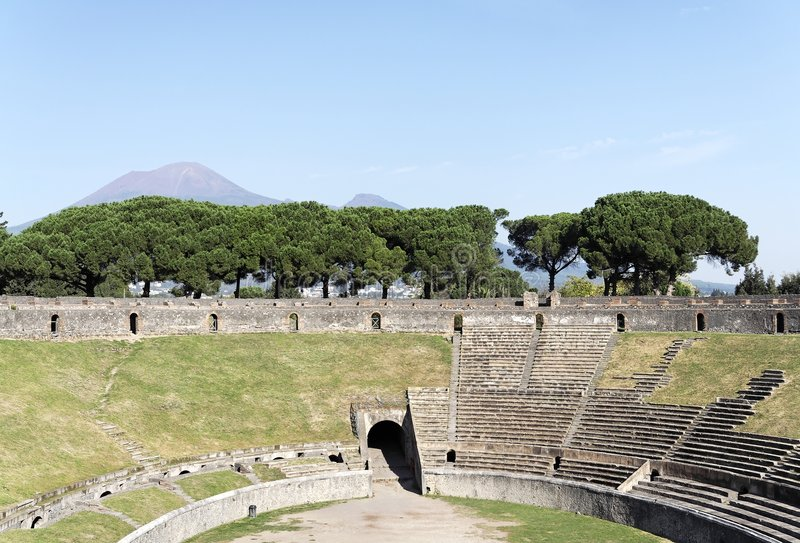 Partial of the Arena Pompeii. A partial of the Arena of the ruins of the roman Amphitheatre in Pompeii. The picture shows part of the arena, a detail of the stock photo