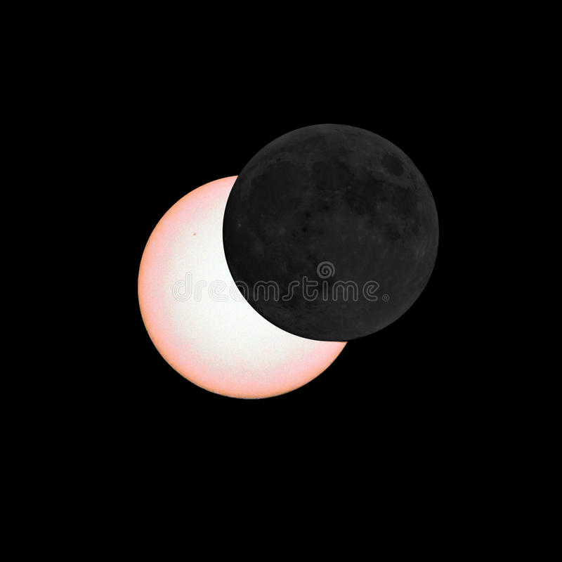 Partial eclipse of the sun. Moon covers parts of the sun, partial eclipse of the sun stock photo